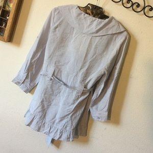 Francesca's Collections Jackets & Coats - Countess Slate Grey Sheen Ruffle Blazer